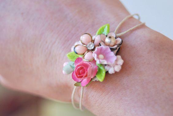 Petite pink floral wrist corsage string bracelet. Tiedupmemories