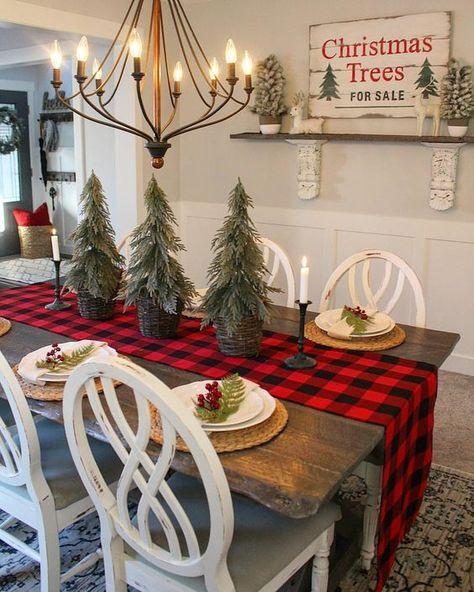 Christmas Dining Room Buffalo Check Christmas Decorations Farmhouse Christmas Decor Holiday Decor