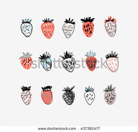 Set of cute strawberries. Hand drawn textures. Vector.