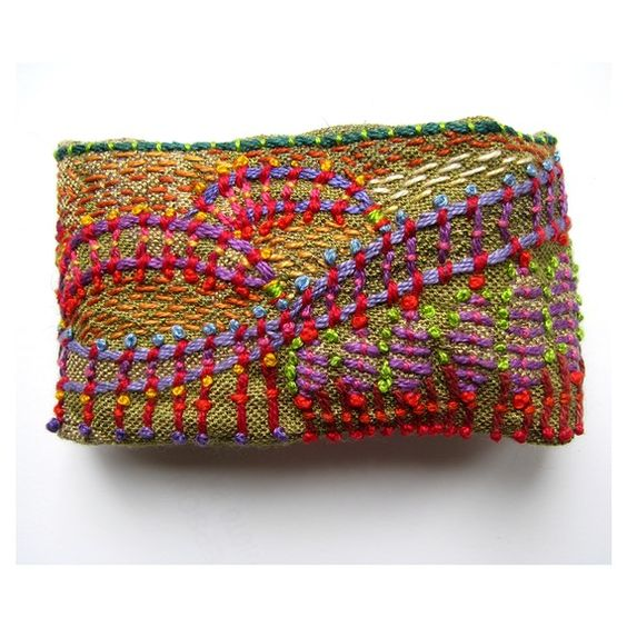 Impressionistic Hand Embroidered Cuff by Madrigal Embroidery in San Francisco