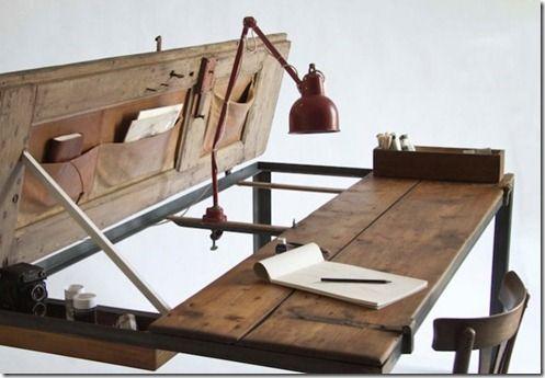 Puertas antigua como mesa de despacho: Dining Table, Workspace, By Desk, Old Doors, Table Desk