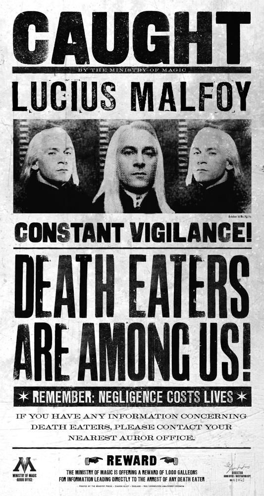 """Lucius Malfoy featured on """"CAUGHT"""" poster."""
