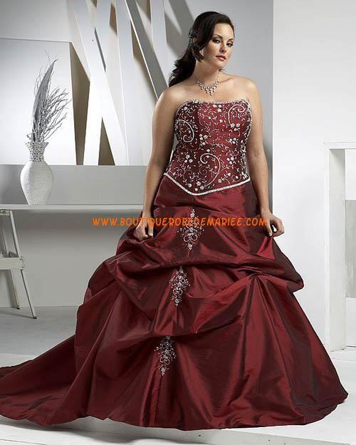 Robe de mariée rouge grande taille jupe froncé avec traîne