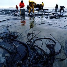 """An oil spill is the release of a liquid petroleum hydrocarbon into the environment, especially marine areas, due to human activity, and is a form of pollution."""