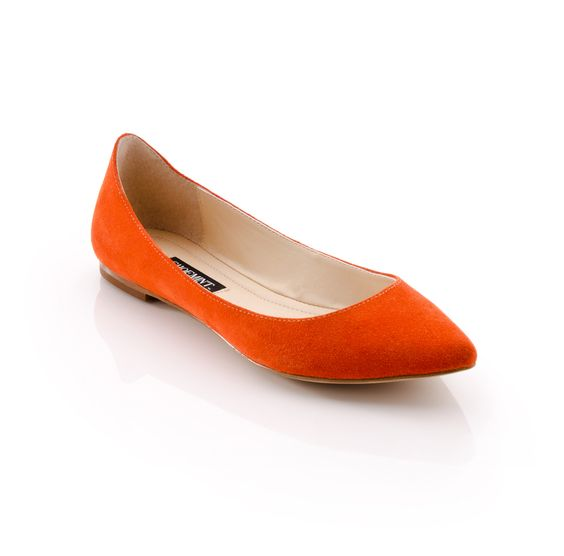 Orange suede flats are the perfect pop of color for neutral color based business outfits.