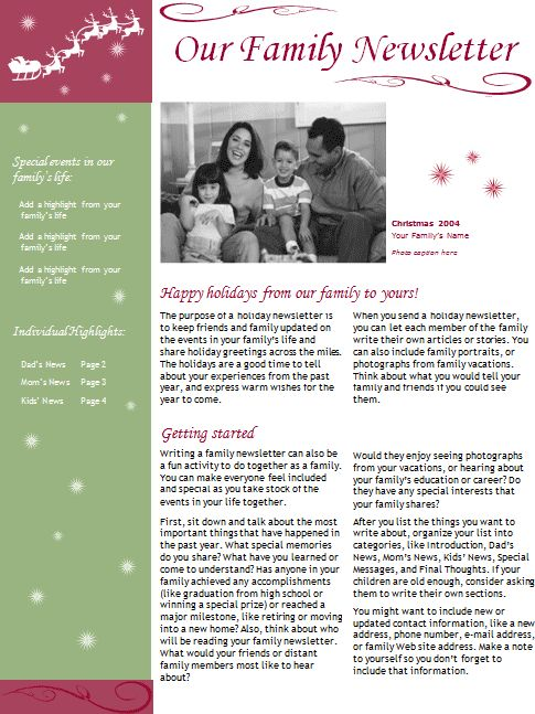 Holiday Newsletter Templates Project Almanac – Holiday Newsletter Template