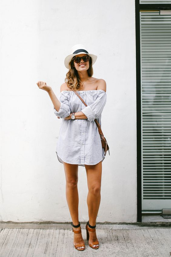 Turn a men's shirt into an off the shoulder dress. Would make it a little longer though!: