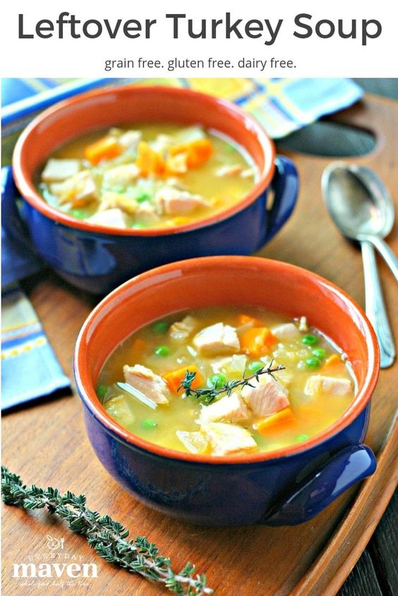 This gluten free Leftover Turkey Soup with Sweet Potatoes and Peas is naturally gluten free and the perfect way to use up that leftover turkey and carcass!#turkeysoup #glutenfreesoup #thanksgivingsoup #leftoverturkey