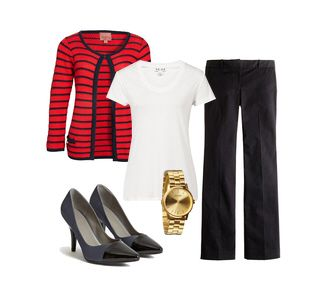 Business Casual Look - striped cardigan with white tee paired with trousers and sleek pumps topped off with gold watch #workfashion #corporatefashion #springfashion