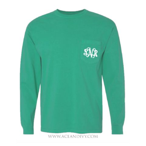 Monogrammed Long Sleeve Pocket Tee - Grass – Ace & Ivy