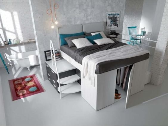 lit mezzanine deux places avec mini dressing au dessous. Black Bedroom Furniture Sets. Home Design Ideas