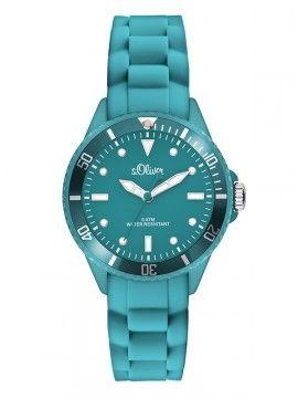 Uhr mit Silikonband in coolem Petrol von s.Oliver Time. #watch #Uhr #s.Oliver #Time #blue #petrol #colour #Silikon