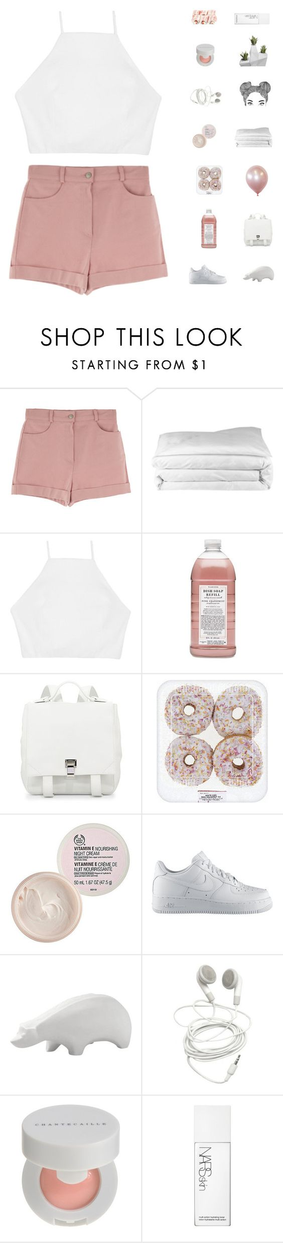 """""""Sixteen"""" by rbalogun ❤ liked on Polyvore featuring Frette, rag & bone, Williams-Sonoma, Proenza Schouler, The Body Shop, NIKE, Jonathan Adler, Chantecaille and NARS Cosmetics"""