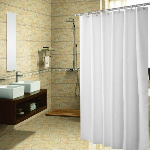 Plain Color 100g Polyester Cloth Waterproof Shower Curtain
