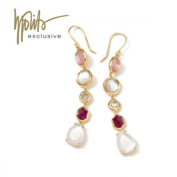 18K Gold Rock Candy Gelato 5-Tier Drop Earrings in Petal.<31495<3