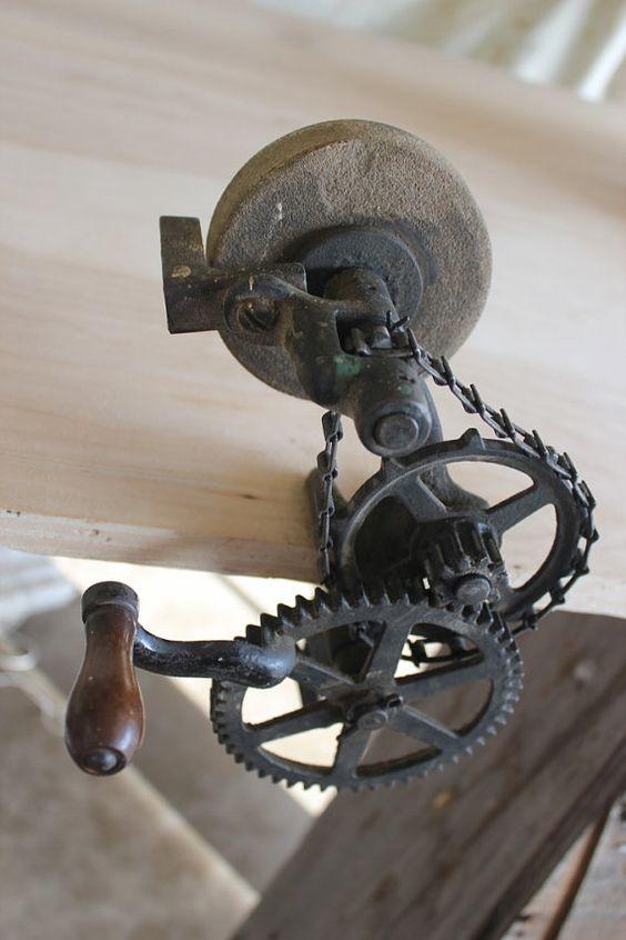 Vintage Hand Crank Bench Grinder Tool Sharpener Vintage