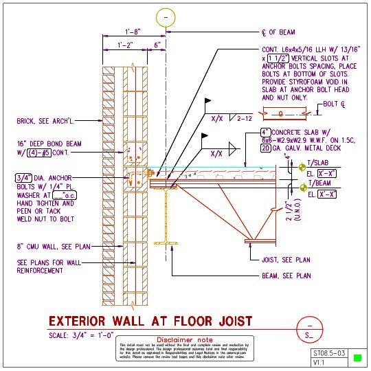 Exterior Wall At Floor Joist Steel Structure Concrete Slab Anchor Bolt