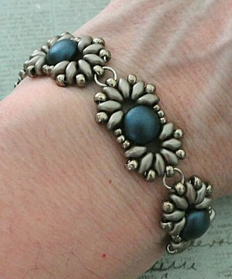 Linda's Crafty Inspirations: Bracelet of the Day: Duo Candy - Blue & Coco