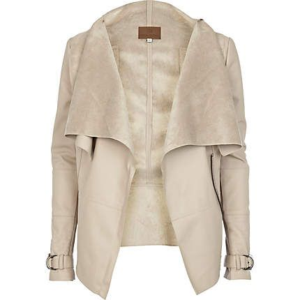 Cream leather look waterfall jacket - leather / leather look