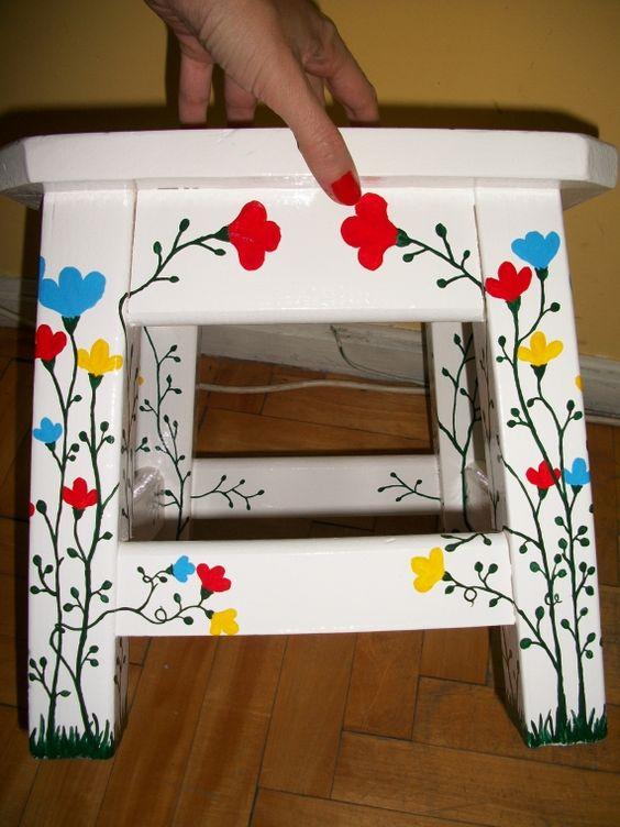 Muebles pintados a mano bancos muebles artesanales - Muebles decorados a mano ...