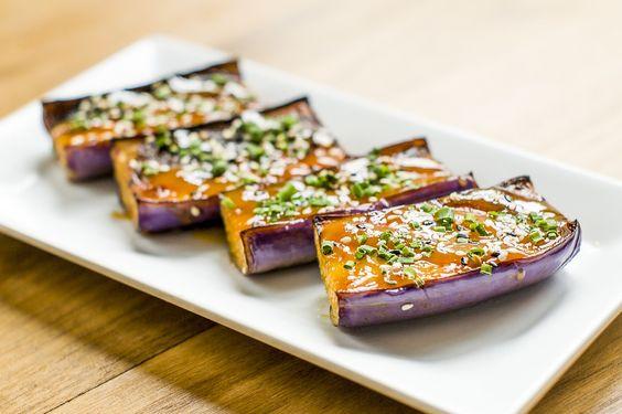 Sweet Miso Glazed Eggplant.