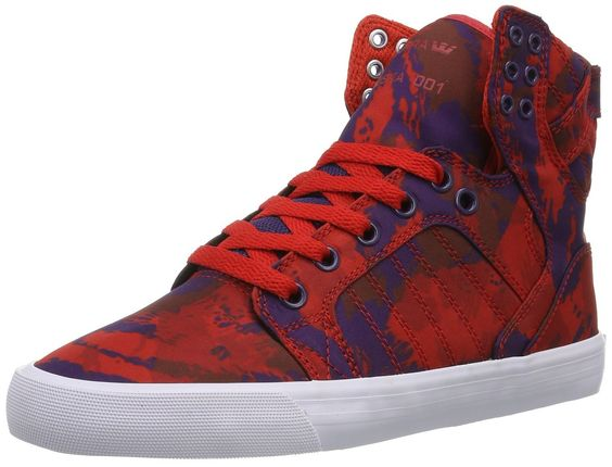 Supra Wmns Skytop Party Camo Red Grape White - Rouge - Red - Rot (PARTY CAMO RED/GRAPE - WHITE PCM), 38.5: Amazon.fr: Chaussures et Sacs