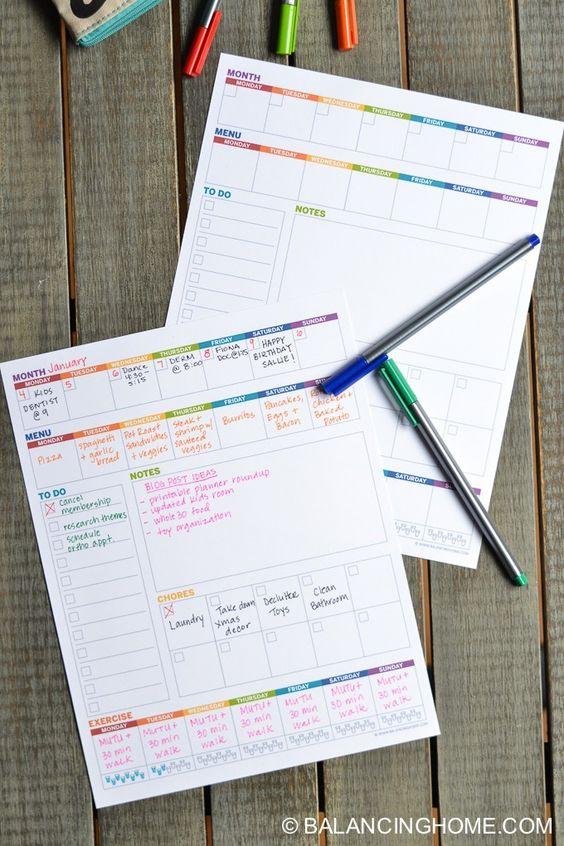 Weekly Planner Template Printable - Balancing Home