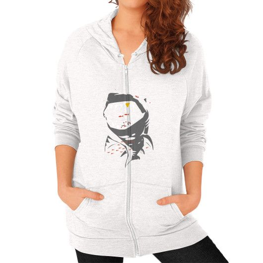 Limited Edition Shark with Pixelated Teeth Zip Hoodie (on woman)