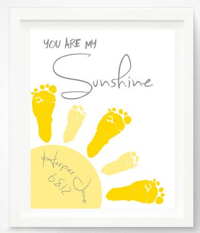 """You are my sunshine"" created with little footprints! Plus more ideas for handprint and footprint art.:"