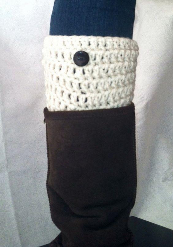 BOOT CUFFS Handmade crochet boot toppers cream by TheLondonLove, $12.95