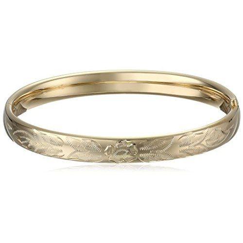 14k Gold-Filled Polished Engraved Hinged Bangle Bracelet - $86.2