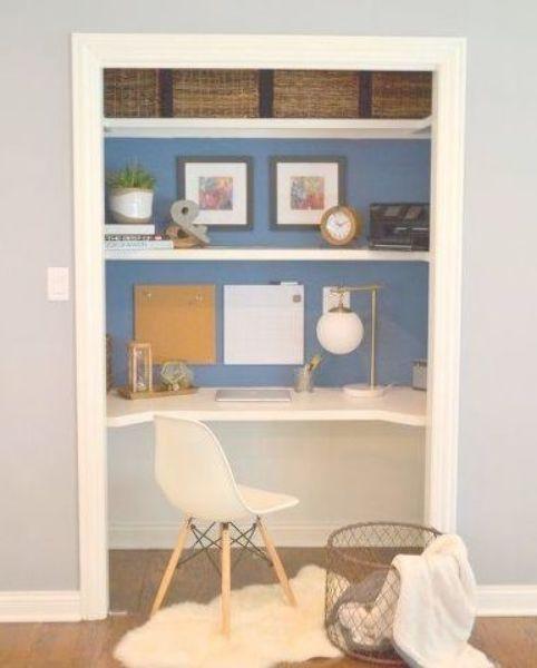 Closet Desk Makeover Closet Home Office Painting Storage Ideas