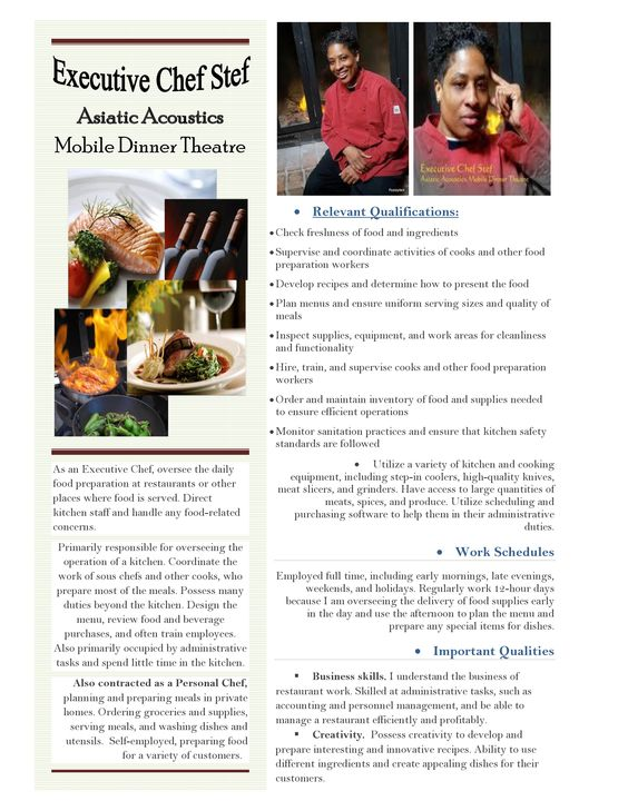 My Professional Culinary Resume Page 2 Executive Chef Looking - personal chef resume