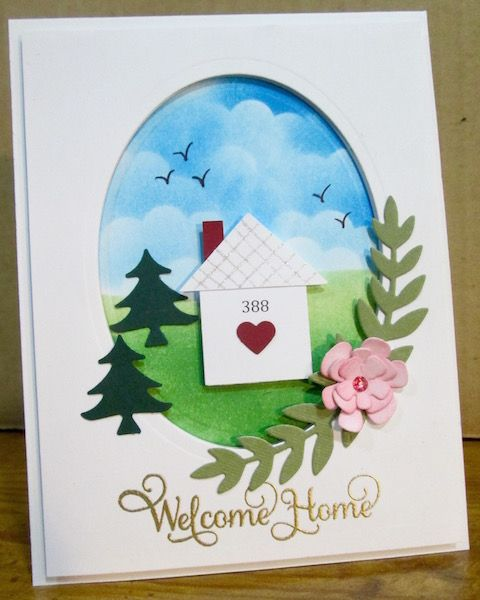 Welcome Home Oval Card Using Spellbinder Shapeabilities Dies And A