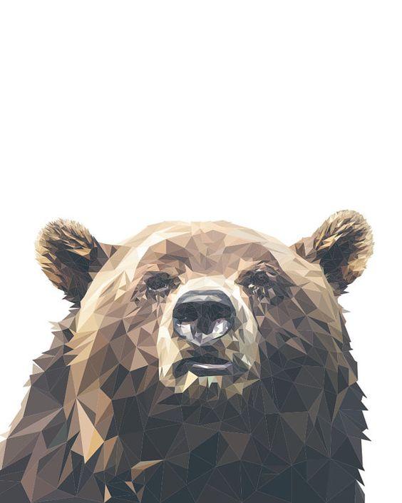 Geometric Bear Printable Wall Art Digital by HamAndOliveDesign: