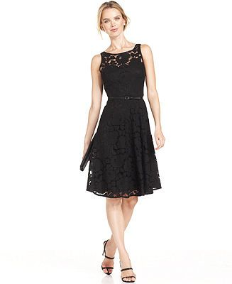 Evan Picone Dress Sleeveless Belted Lace A-Line - Dresses - Women ...