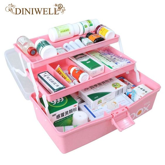 Diniwell Three Tier Medicine Box First Aid Kit Plastic Folding Medical Chest Organizer For Makeup Stationery Stationery Storage Medicine Boxes Jewerly Storage