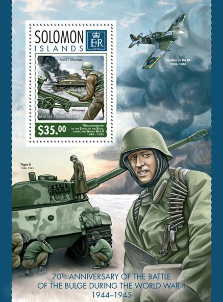 SLM 14315 bThe 70th anniversary of the Battle of the Bulge during the World War II (1944-1945)  (M4A1 Sherman, M101A1 105mm Howitzer, U.S. troops)