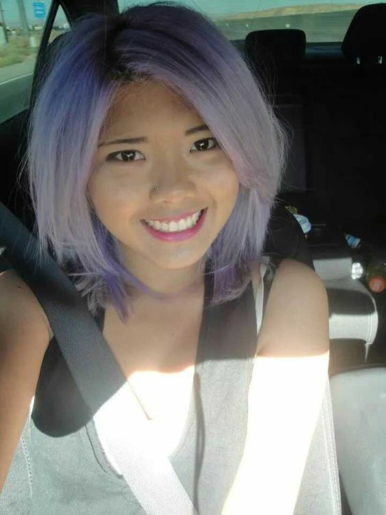 Pastel lilac hair on asian tan skin. Short to medium hair ...