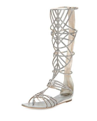 Crystal Tall Gladiator Sandal, Silver by Rene Caovilla at Neiman ...