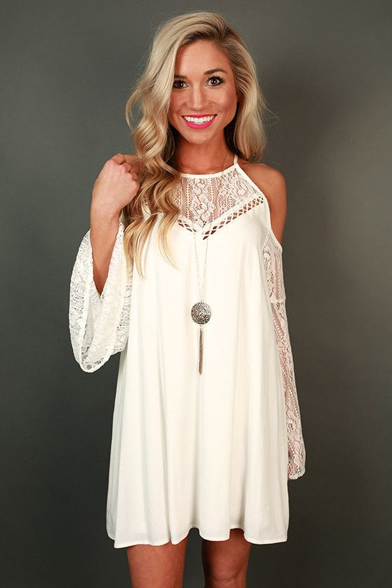 Catch My Drift Cold Shoulder Dress in White