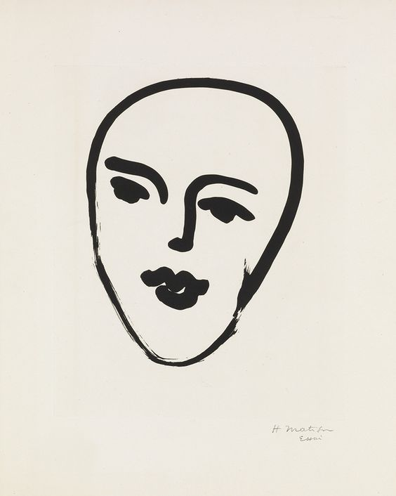 """laurgold:Swann Galleries, Old Masters through Modern Prints, Oct. 30thSale 2328 Lot 376 HENRI MATISSEMasque au Petit Nez.Aquatint, 1948. 432x346 mm; 17x13 5/8 inches, full margins. Artist's proof (there was no published edition). Signed and inscribed """"Essai"""" in pencil, lower margin. A superb impression of this exceedingly scarce print.Duthuit notes only two artist's proofs, both signed in pencil lower right. Duthuit 798.Estimate $20,000-30,000"""