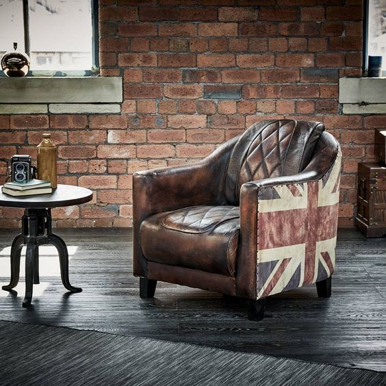 Wallace Sacks Brown/Multi Union Jack Leather Armchair