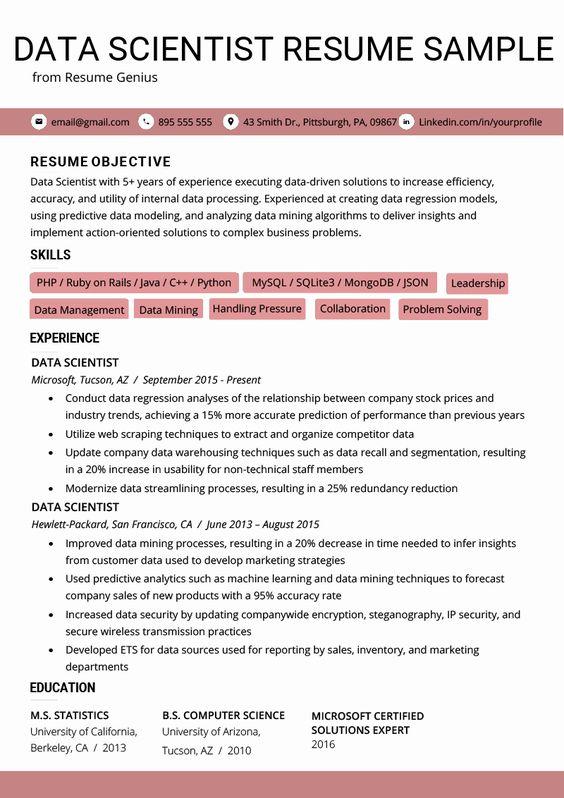 Data Scientist Entry Level Resume Beautiful Data Scientist Resume Example Writing Tips Data Scientist Resume Skills Resume Examples