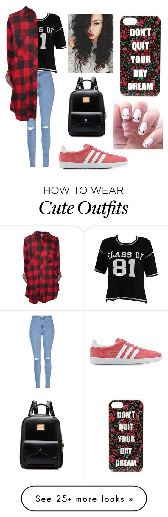 """back to school outfit"" by destgreen on Polyvore featuring Glamorous, adidas Originals and Forever 21"