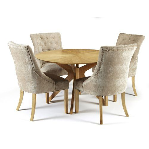 Dangerfield Dining Set With 4 Chairs Marlow Home Co Colour Chair Mink Fabric Dining Chairs Round Oak Dining Table Dining Chairs