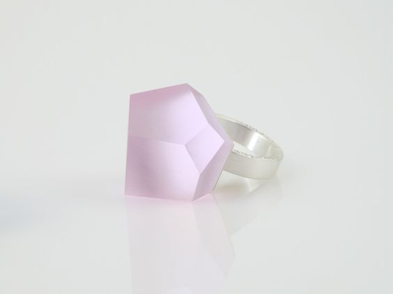 Fruit Bijoux, VU, silver ring, cherry blossom pink. To download high or low resolution product images view Mondrianista.com (editorial use only).