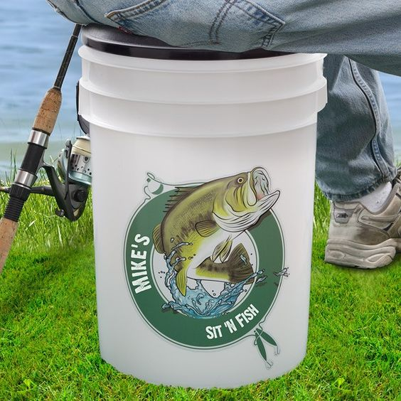 Personalized Fishing Cooler bucket with seat - fish in comfort and style!: