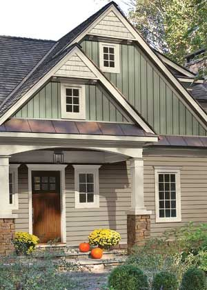 Mix horizontal vertical siding metal and shingle roof for Horizontal metal siding