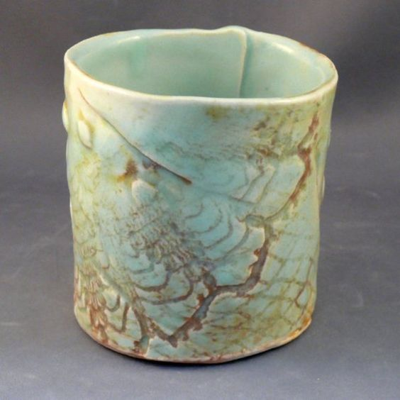 handbuilt tea bowls   Yunomi Tea Cup Dragonfly Design A by BlueSkyPotteryCO on Etsy